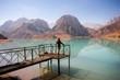 Girl relaxing near Iskanderkul lake, Tadjikistan.