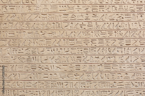 Poster Egypte Egyptian hieroglyphs stone background