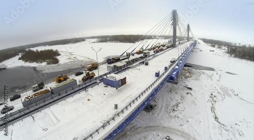 Papiers peints Europe de l Est Aerial view to Bridge with construction equipment and cars