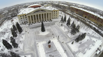 Aerial view to Palace with christmas tree