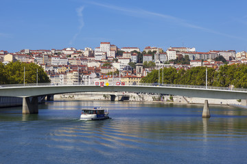 View on Lyon and Saone river