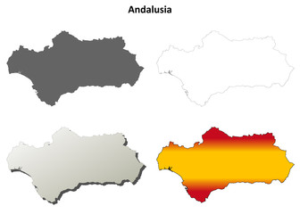 Andalusia blank detailed outline map set