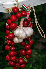 Tomatoes and garlic tied in a cluster