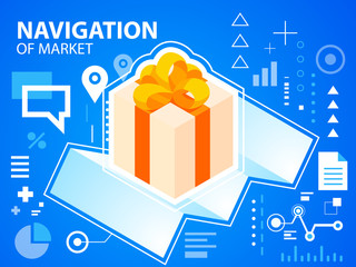 Vector bright illustration navigate map and gift box with bow on
