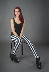 girl in striped trousers
