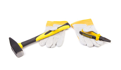 Construction gloves and tools.