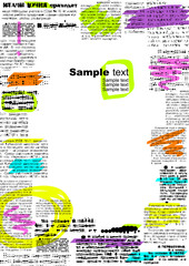 Border of imitation newspaper with notes.