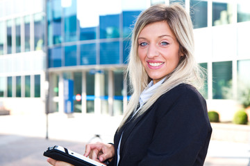 Successful businesswoman with tablet