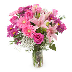Pink flowers bunch in vase