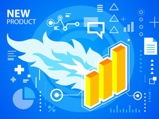 Vector bright illustration fire and bar chart on blue background