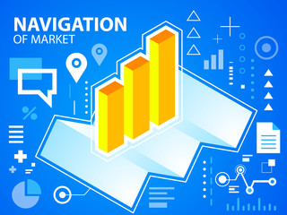 Vector bright illustration navigate map and bar chart on blue ba