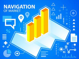 Vector bright illustration navigate map and bar chart on blue ba