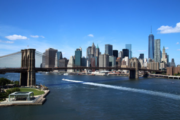 Aerial view of New York City Downtown with Brooklyn Bridge