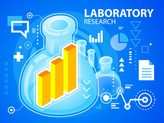 Vector bright illustration laboratory research and bar chart on