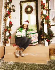 happy young girl at home decorated on Christmas