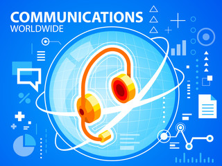 Vector bright illustration planet and head phone on blue backgro