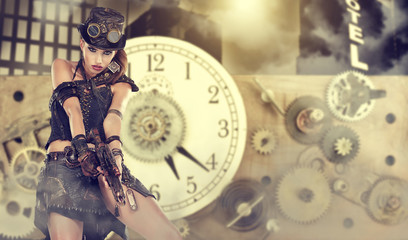 A steampunk woman stands on a background of abstract clock