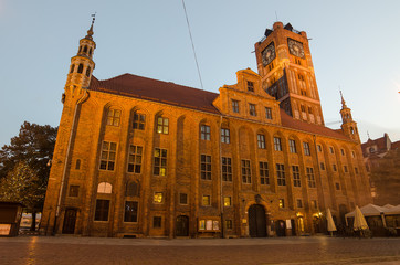 Early morning in Old Town of Torun, Poland. City Hall.