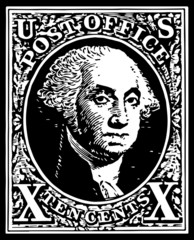 Black Washington 10 Cent Stamp