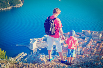 father and son travel in Europe