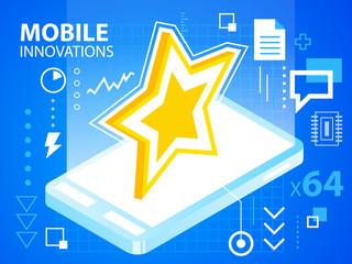 Vector bright illustration mobile innovations of star on blue ba
