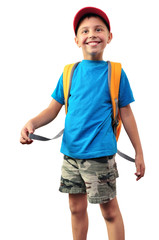 happy smiling schoolboy with backpack isolated over white