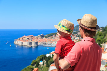 father and son on vacation in Europe