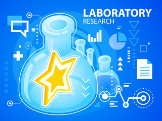 Vector bright illustration laboratory research of star on blue b