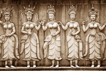 Ancient Khmer statues, wall art