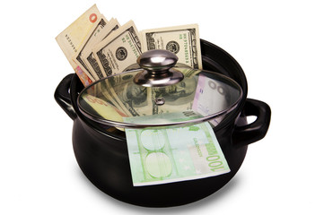 Money in a pot. Concept