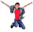 isolated full length portrait of running jumping boy