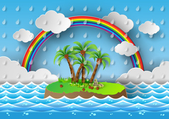 Tropical palm on island with sea and rainbow.vector illustration