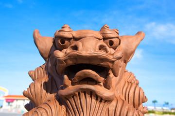 Brown Shisa monument in Okinawa