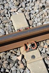 Detail of a train rail, railway equipment, rail track