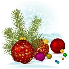 Weihnachten, Grußkarte, Weihnachtskugel, Tannengrün, xmas, Kugel