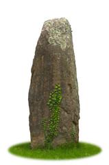 Freigestellter Menhir vor weißem Hintergrund