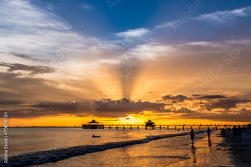 Foto Spatwand Zonsondergang op het Strand Sunset on Fort Myers Beach