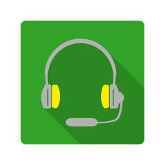 Flat design. Headphones with microphone icon