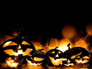 scary halloween pumpkins and magic mist