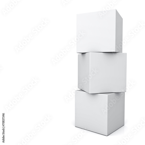 Leinwanddruck Bild Blank 3d concept boxes standing isolated on white background