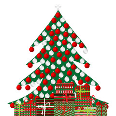 Christmas tree and gift boxes on white background