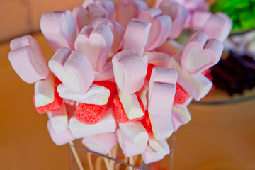 Heart shaped Marshmallows sticks