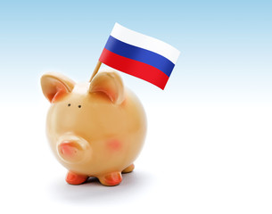 Piggy bank with national flag of Russia