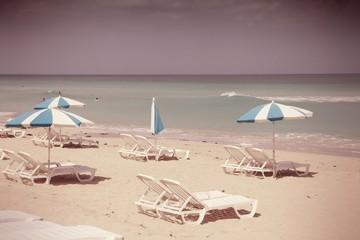 Beach in Cuba - Playas del Este. Cross processed retro color.