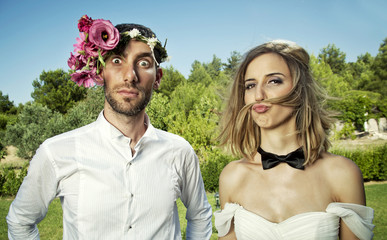 Funny Wedding Couple Portrait