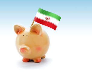 Piggy bank with national flag of Iran