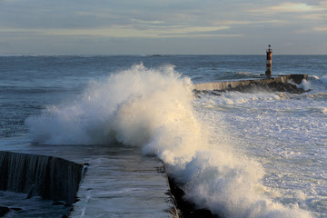Storm wave over pier