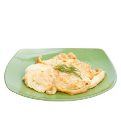 Scrambled eggs on plate ceramic isolated with clipping path.