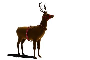 Digital santas reindeer with bells