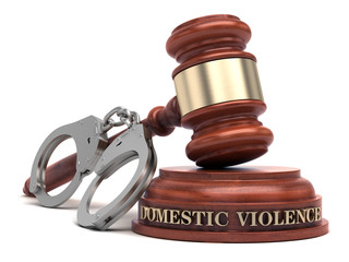 Domestic Violence text on sound block & gavel